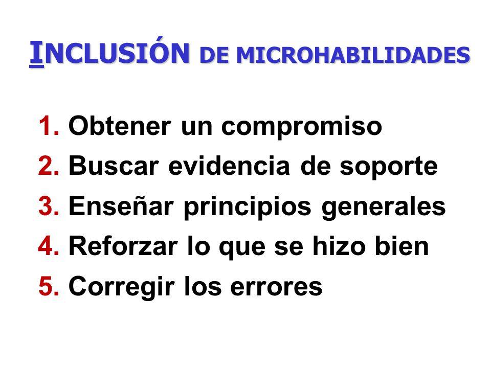 I NCLUSIÓN DE MICROHABILIDADES 1. Obtener un compromiso 2. Buscar evidencia de soporte 3. Enseñar principios generales 4. Reforzar lo que se hizo bien
