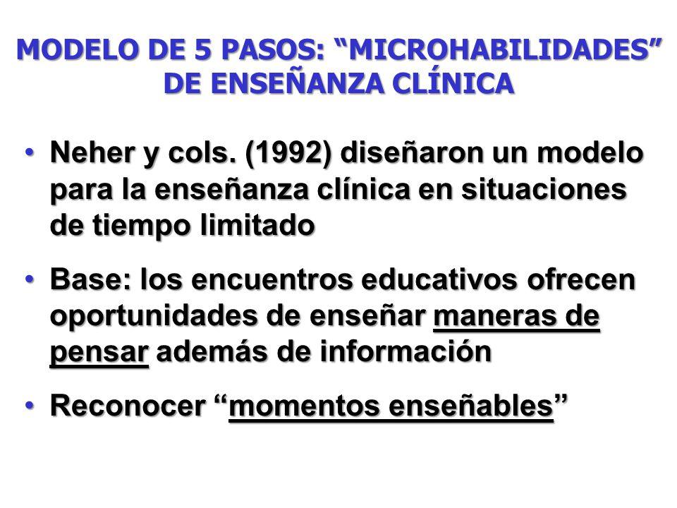 MODELO DE 5 PASOS: MICROHABILIDADES DE ENSEÑANZA CLÍNICA Neher y cols. (1992) diseñaron un modelo para la enseñanza clínica en situaciones de tiempo l
