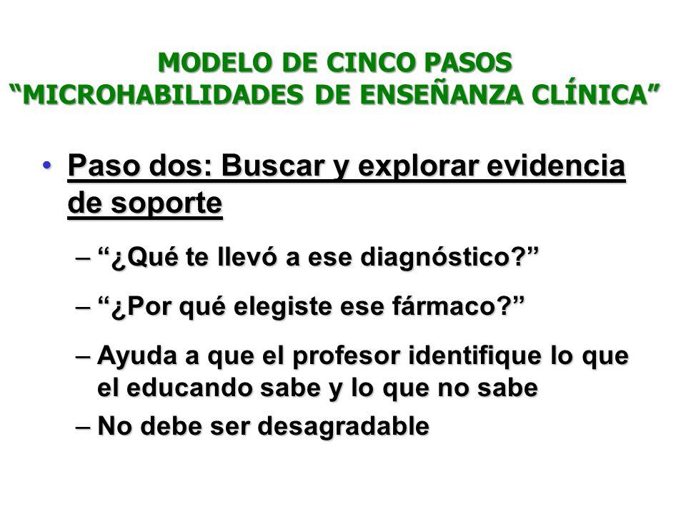 Paso dos: Buscar y explorar evidencia de soportePaso dos: Buscar y explorar evidencia de soporte –¿Qué te llevó a ese diagnóstico? –¿Por qué elegiste