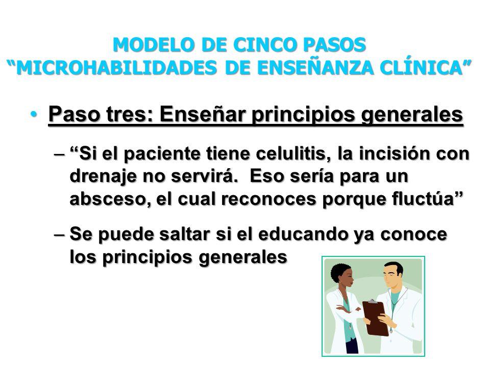 Paso tres: Enseñar principios generalesPaso tres: Enseñar principios generales –Si el paciente tiene celulitis, la incisión con drenaje no servirá. Es