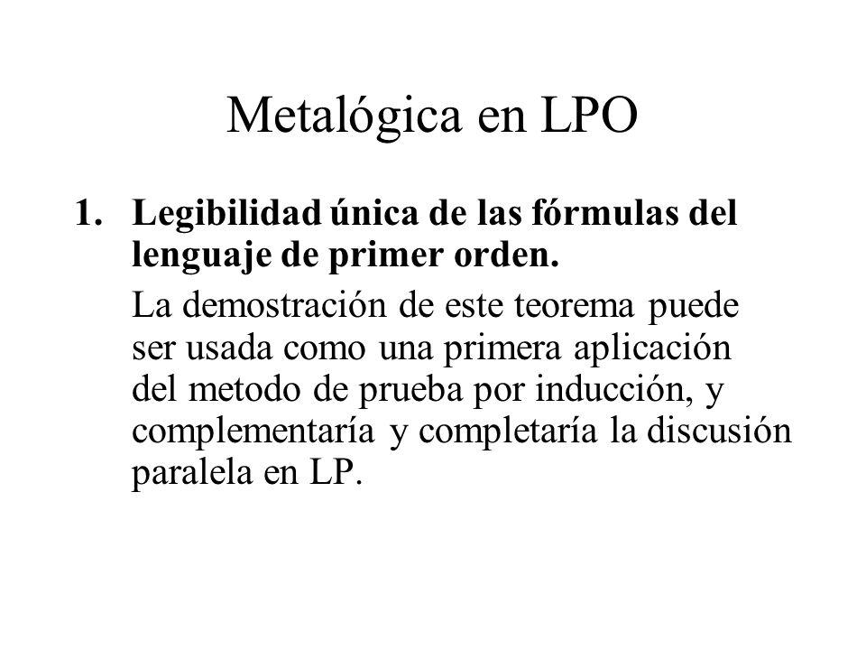 Metalógica en LPO 1.Legibilidad única de las fórmulas del lenguaje de primer orden. La demostración de este teorema puede ser usada como una primera a