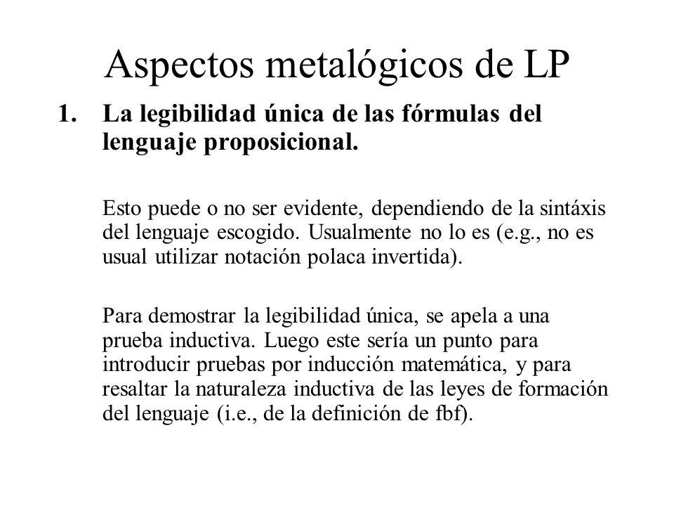 Aspectos metalógicos de LP 1.La legibilidad única de las fórmulas del lenguaje proposicional. Esto puede o no ser evidente, dependiendo de la sintáxis