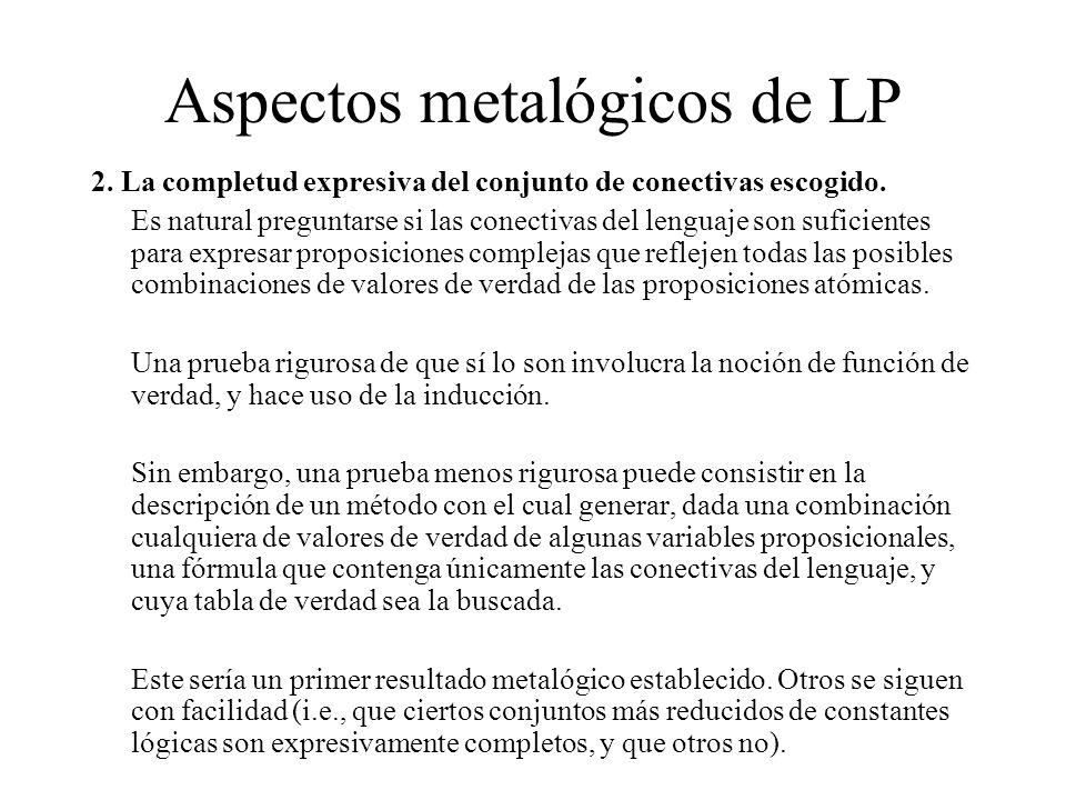 Aspectos metalógicos de LP 2. La completud expresiva del conjunto de conectivas escogido. Es natural preguntarse si las conectivas del lenguaje son su