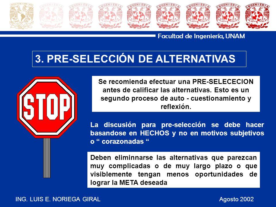 ING. LUIS E. NORIEGA GIRAL Agosto 2002 Facultad de Ingeniería, UNAM 3. PRE-SELECCIÓN DE ALTERNATIVAS La discusión para pre-selección se debe hacer bas