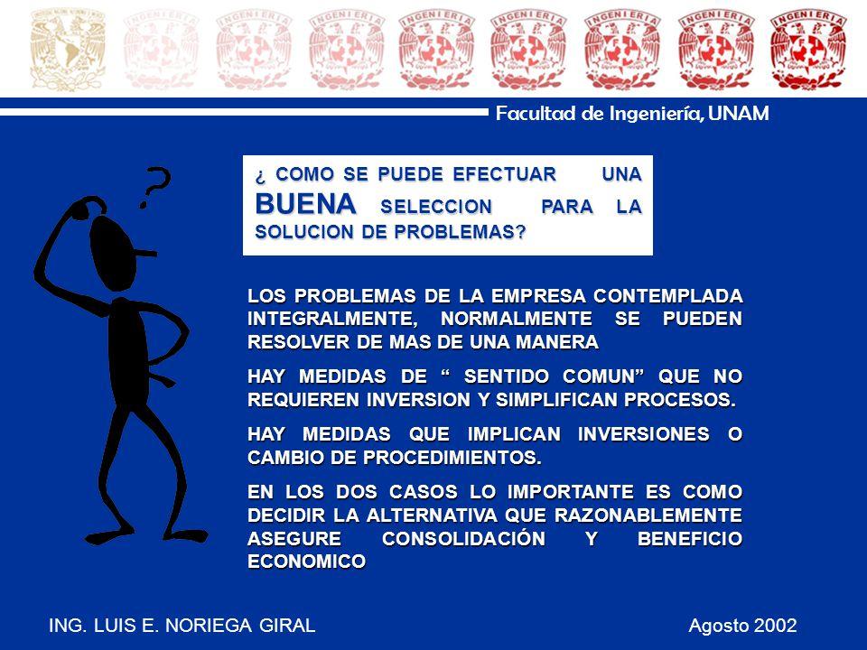 ING. LUIS E. NORIEGA GIRAL Agosto 2002 Facultad de Ingeniería, UNAM LOS PROBLEMAS DE LA EMPRESA CONTEMPLADA INTEGRALMENTE, NORMALMENTE SE PUEDEN RESOL