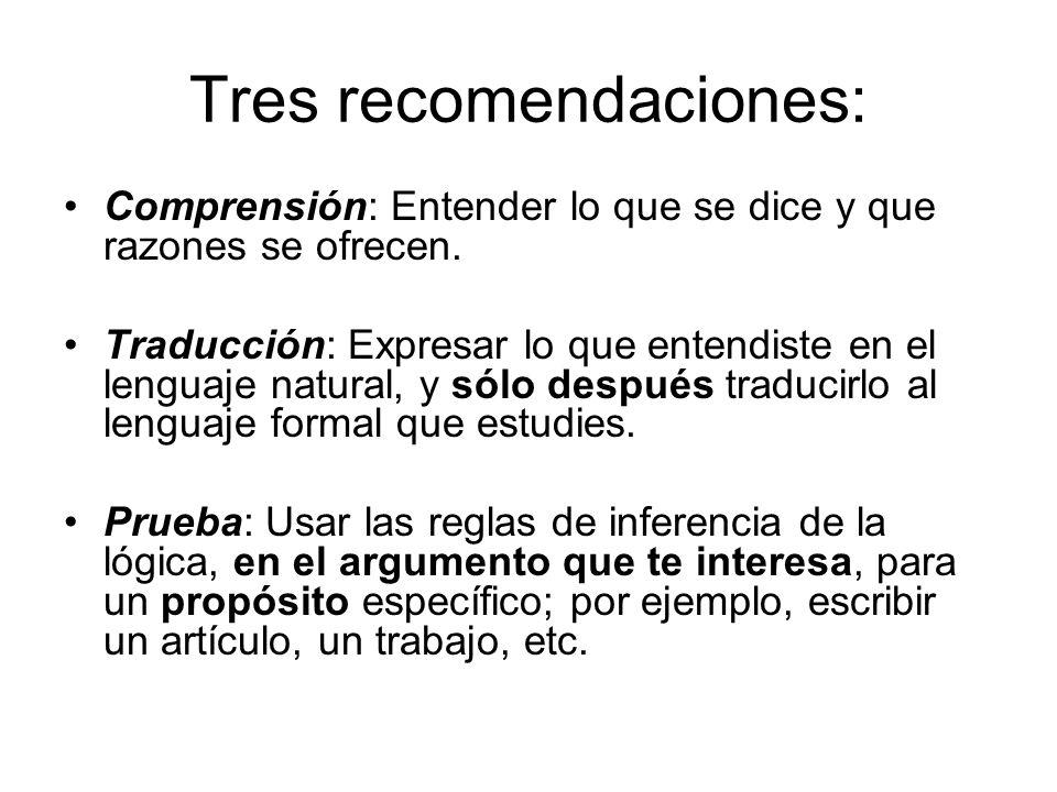 Tres recomendaciones: Comprensión: Entender lo que se dice y que razones se ofrecen. Traducción: Expresar lo que entendiste en el lenguaje natural, y