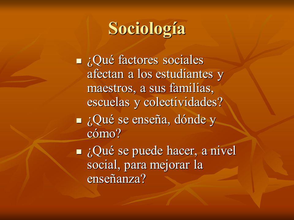 Sociología ¿Qué factores sociales afectan a los estudiantes y maestros, a sus familias, escuelas y colectividades? ¿Qué factores sociales afectan a lo