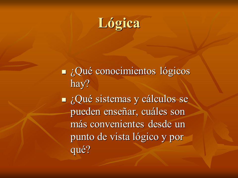 Lógica ¿Qué conocimientos lógicos hay? ¿Qué conocimientos lógicos hay? ¿Qué sistemas y cálculos se pueden enseñar, cuáles son más convenientes desde u