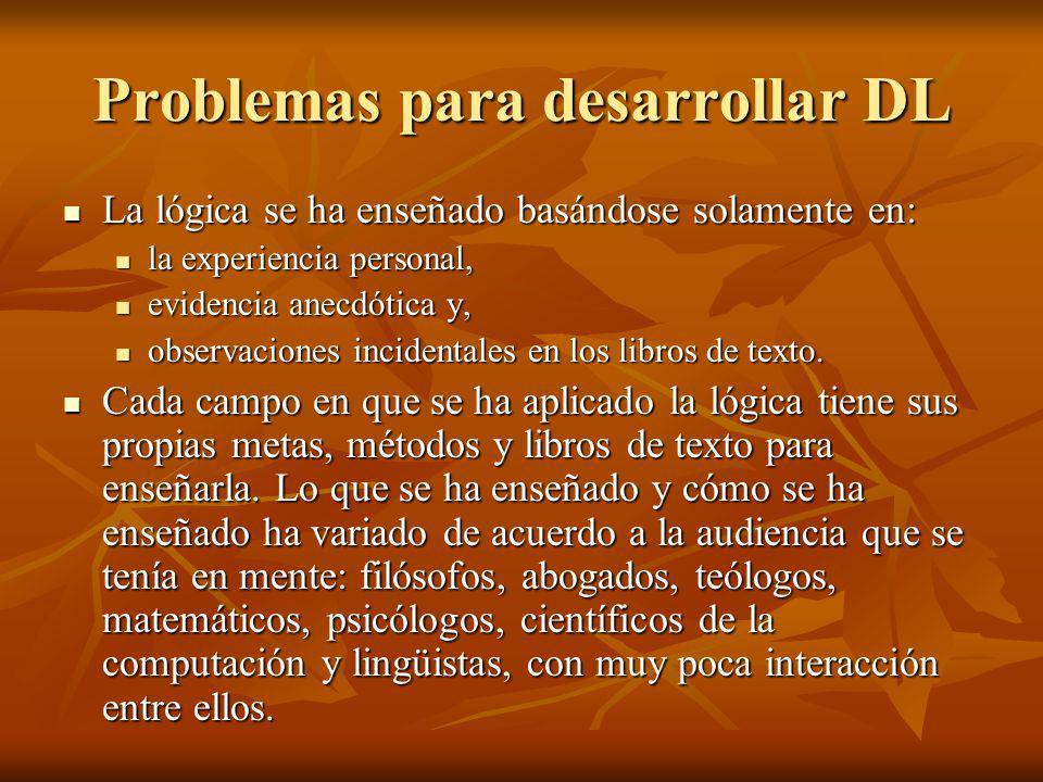 Problemas para desarrollar DL La lógica se ha enseñado basándose solamente en: La lógica se ha enseñado basándose solamente en: la experiencia persona