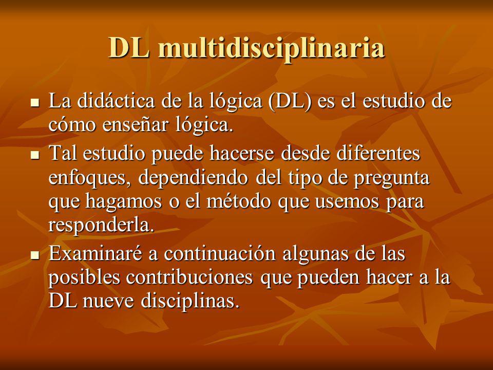 DL multidisciplinaria La didáctica de la lógica (DL) es el estudio de cómo enseñar lógica. La didáctica de la lógica (DL) es el estudio de cómo enseña