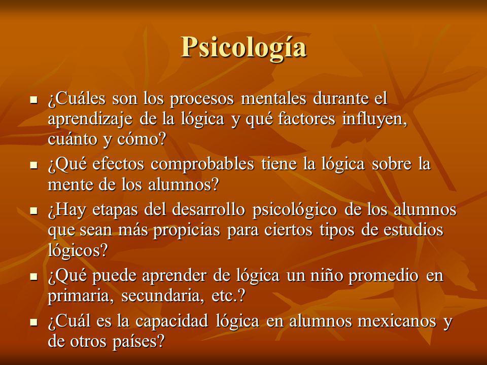 Psicología ¿Cuáles son los procesos mentales durante el aprendizaje de la lógica y qué factores influyen, cuánto y cómo? ¿Cuáles son los procesos ment