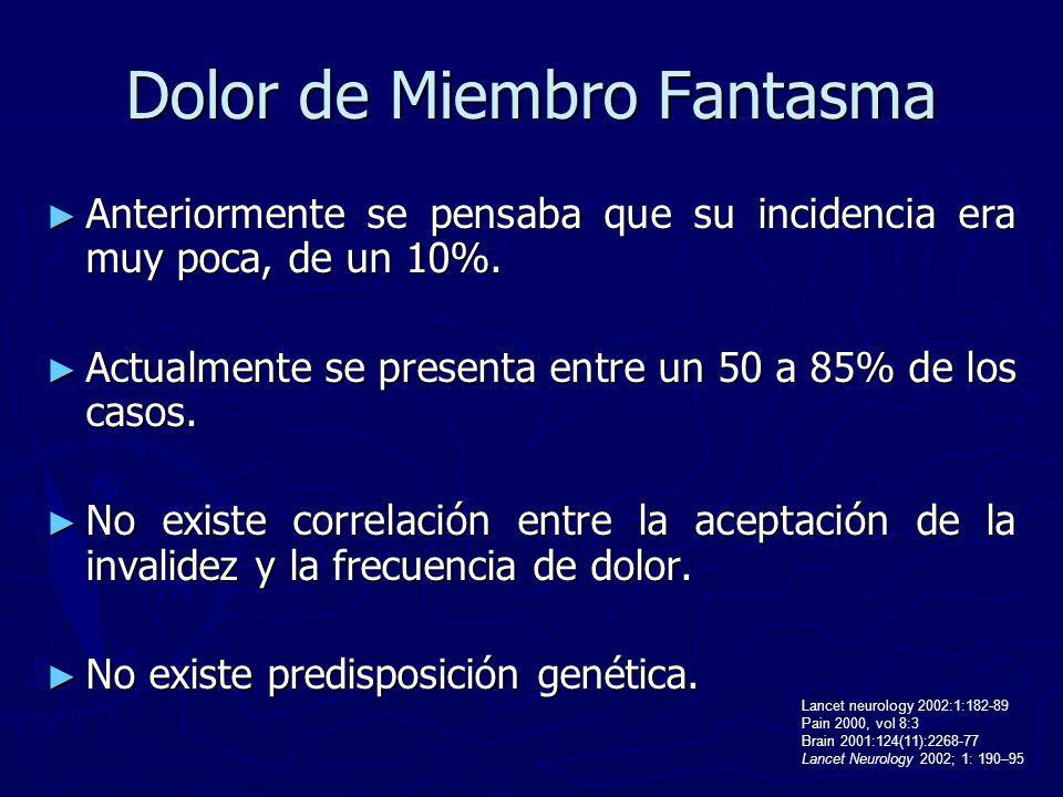 Dolor de Miembro Fantasma Anteriormente se pensaba que su incidencia era muy poca, de un 10%. Anteriormente se pensaba que su incidencia era muy poca,