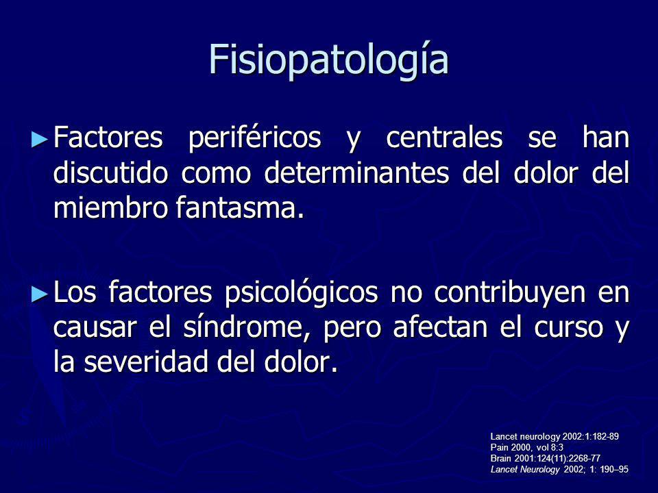 Fisiopatología Factores periféricos y centrales se han discutido como determinantes del dolor del miembro fantasma. Factores periféricos y centrales s