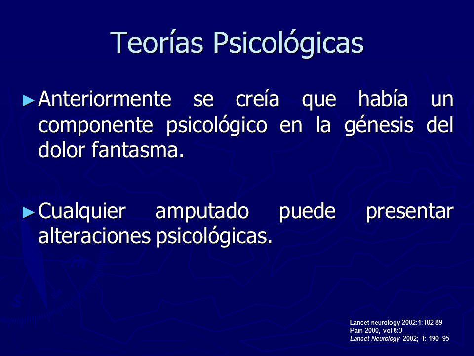 Teorías Psicológicas Anteriormente se creía que había un componente psicológico en la génesis del dolor fantasma. Anteriormente se creía que había un