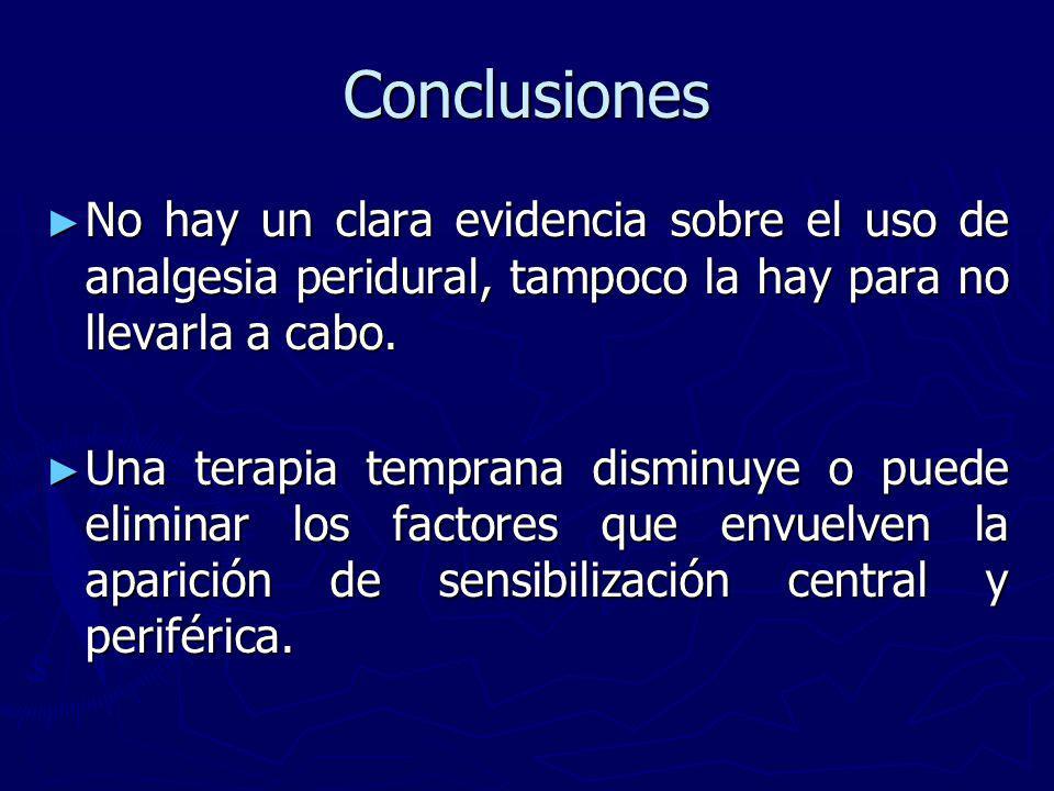 Conclusiones No hay un clara evidencia sobre el uso de analgesia peridural, tampoco la hay para no llevarla a cabo. No hay un clara evidencia sobre el