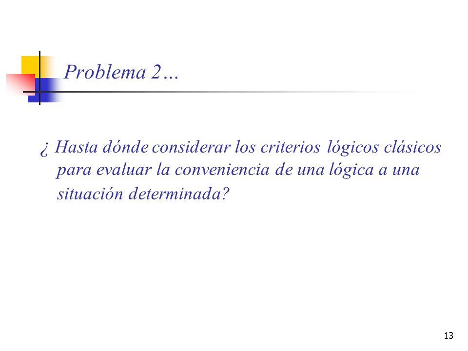 13 Problema 2… ¿ Hasta dónde considerar los criterios lógicos clásicos para evaluar la conveniencia de una lógica a una situación determinada?