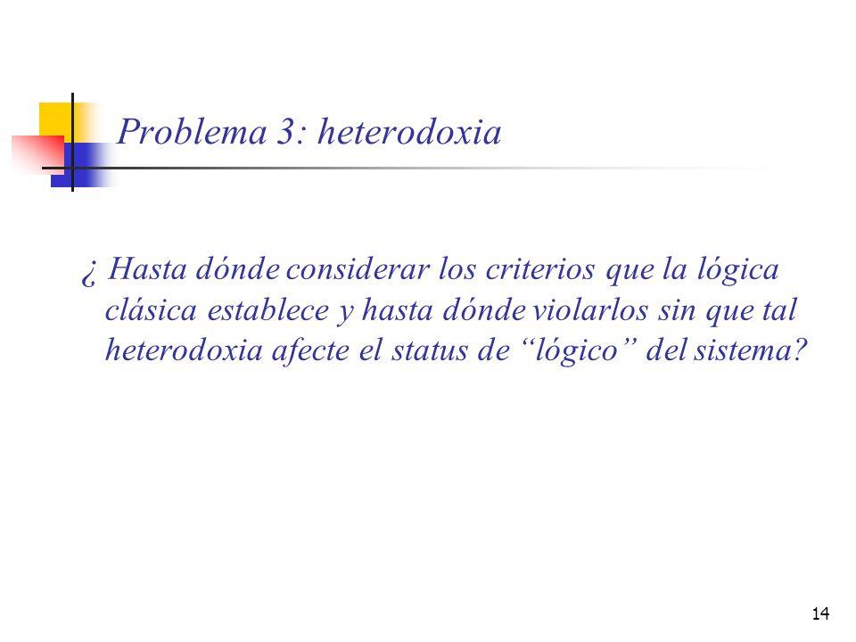 14 Problema 3: heterodoxia ¿ Hasta dónde considerar los criterios que la lógica clásica establece y hasta dónde violarlos sin que tal heterodoxia afec