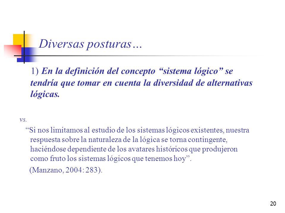 20 Diversas posturas… 1) En la definición del concepto sistema lógico se tendría que tomar en cuenta la diversidad de alternativas lógicas. vs. Si nos