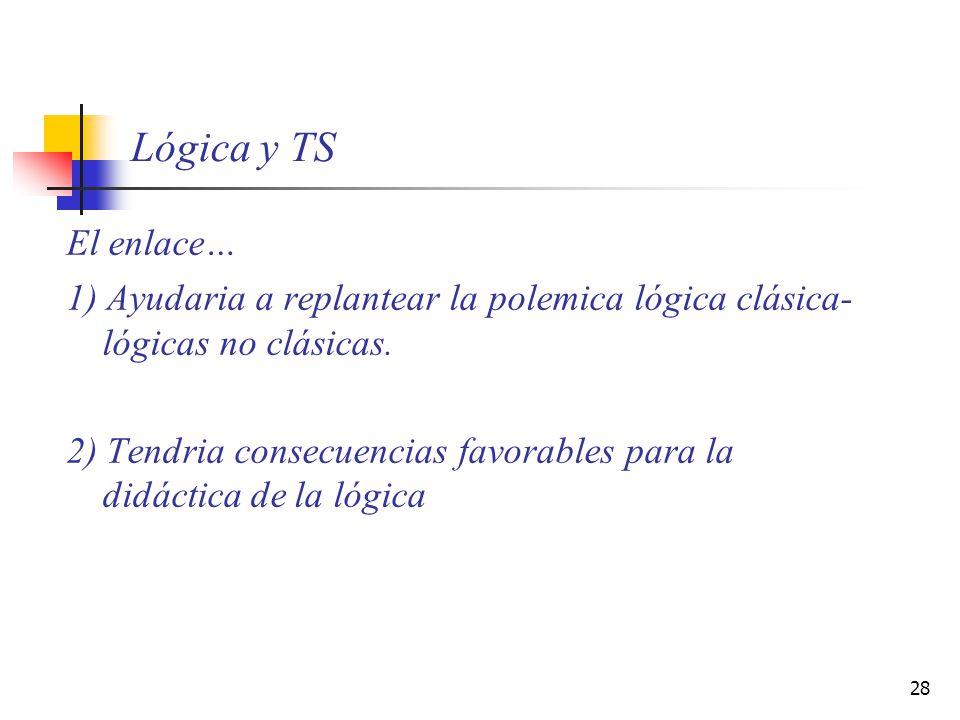 28 Lógica y TS El enlace… 1) Ayudaria a replantear la polemica lógica clásica- lógicas no clásicas. 2) Tendria consecuencias favorables para la didáct