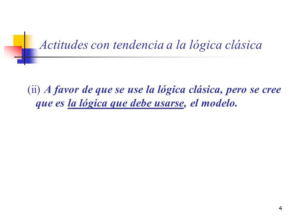 4 Actitudes con tendencia a la lógica clásica (ii) A favor de que se use la lógica clásica, pero se cree que es la lógica que debe usarse, el modelo.
