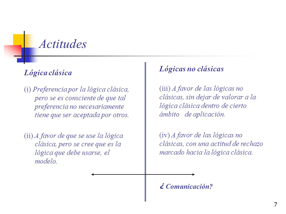 7 Actitudes Lógica clásica (i) Preferencia por la lógica clásica, pero se es consciente de que tal preferencia no necesariamente tiene que ser aceptad
