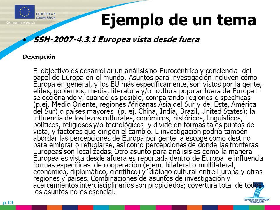 p 13 Ejemplo de un tema SSH-2007-4.3.1 Europea vista desde fuera Descripción El objectivo es desarrollar un análisis no-Eurocéntrico y conciencia del papel de Europa en el mundo.