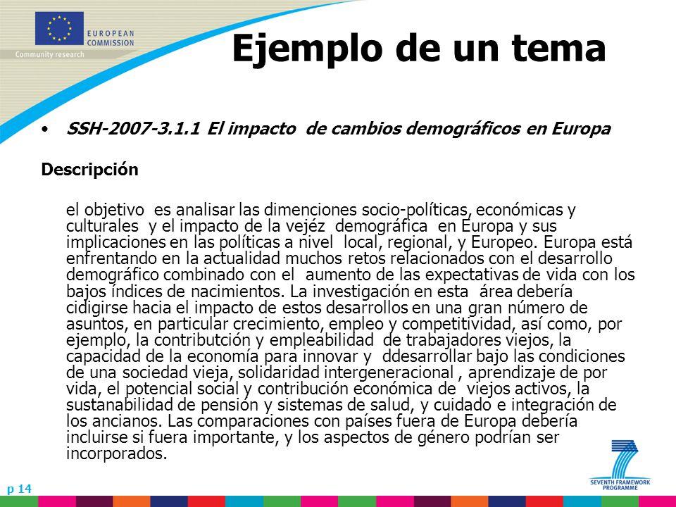 p 14 Ejemplo de un tema SSH-2007-3.1.1 El impacto de cambios demográficos en Europa Descripción el objetivo es analisar las dimenciones socio-políticas, económicas y culturales y el impacto de la vejéz demográfica en Europa y sus implicaciones en las políticas a nivel local, regional, y Europeo.