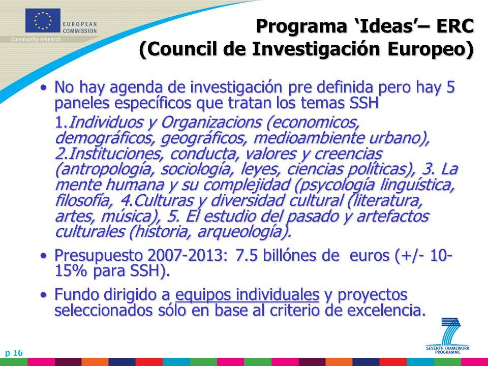 p 16 Programa Ideas– ERC (Council de Investigación Europeo) No hay agenda de investigación pre definida pero hay 5 paneles específicos que tratan los
