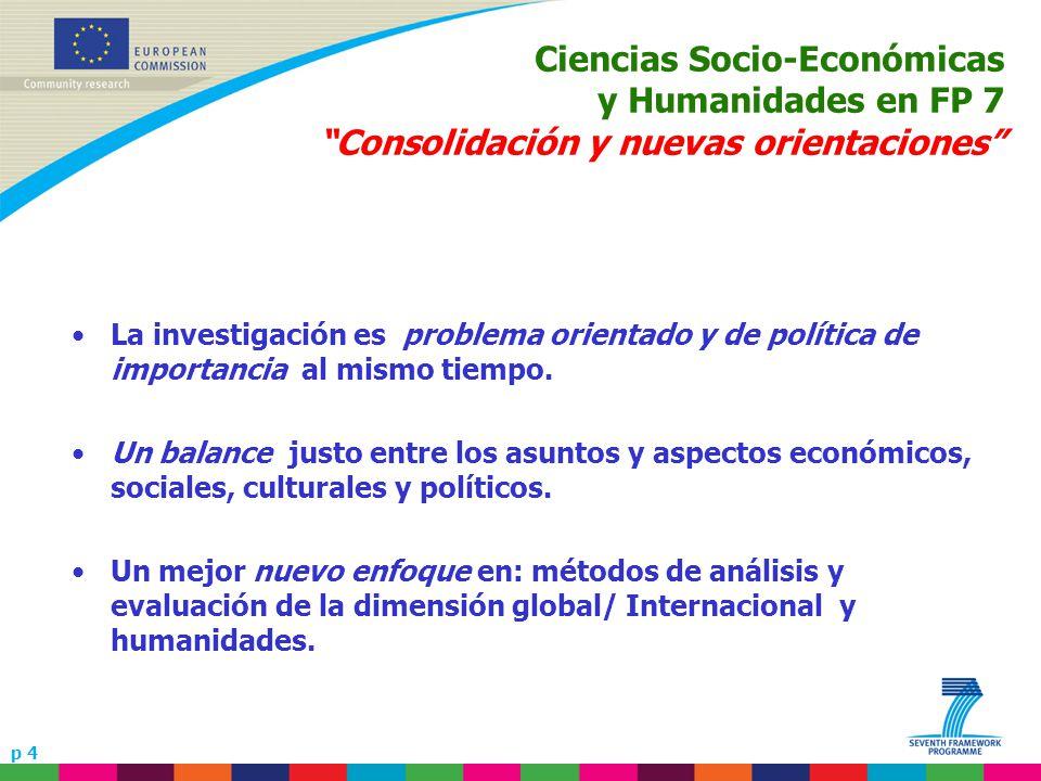 p 4 Ciencias Socio-Económicas y Humanidades en FP 7 Consolidación y nuevas orientaciones La investigación es problema orientado y de política de importancia al mismo tiempo.