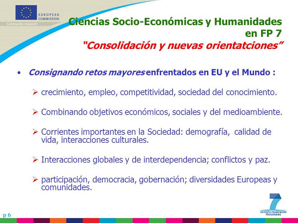 p 6 Ciencias Socio-Económicas y Humanidades en FP 7 Consolidación y nuevas orientatciones Consignando retos mayores enfrentados en EU y el Mundo : crecimiento, empleo, competitividad, sociedad del conocimiento.