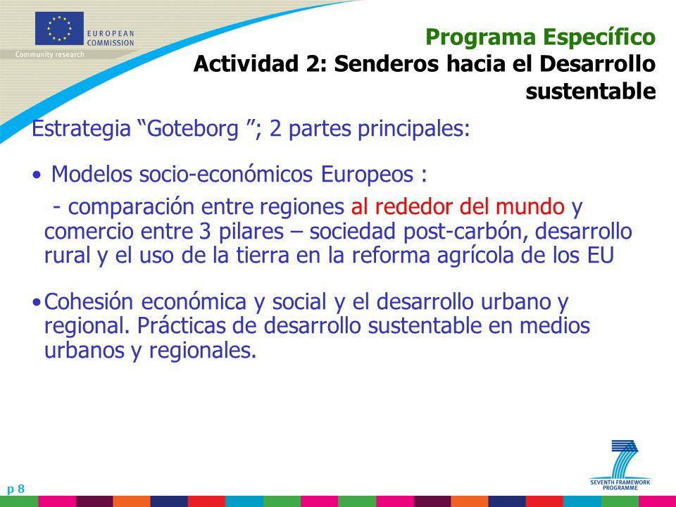 p 8 Programa Específico Actividad 2: Senderos hacia el Desarrollo sustentable Estrategia Goteborg ; 2 partes principales: Modelos socio-económicos Eur