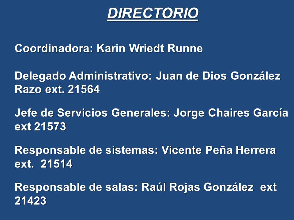 DIRECTORIO Coordinadora: Karin Wriedt Runne Delegado Administrativo: Juan de Dios González Razo ext.