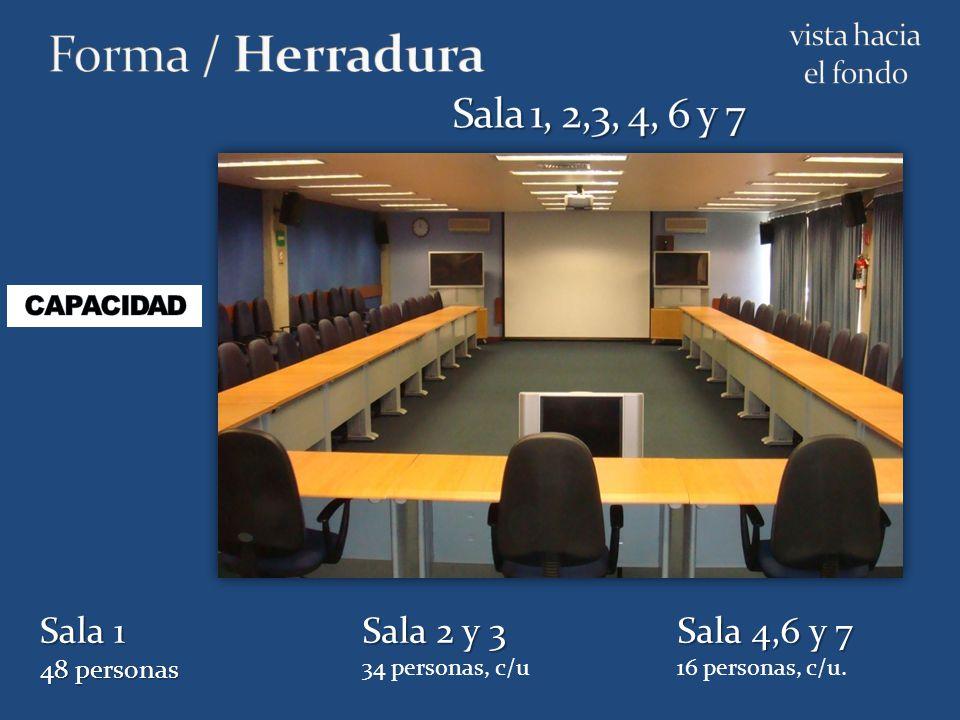Sala 1 48 personas Sala 2 y 3 34 personas, c/u Sala 4,6 y 7 16 personas, c/u.