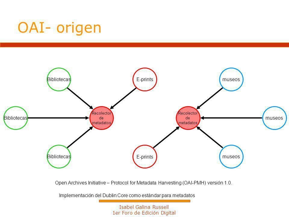 Isabel Galina Russell 1er Foro de Edición Digital E-prints Recolector de metadatos Recolector de metadatos museos Bibliotecas Open Archives Initiative – Protocol for Metadata Harvesting (OAI-PMH) versión 1.0.