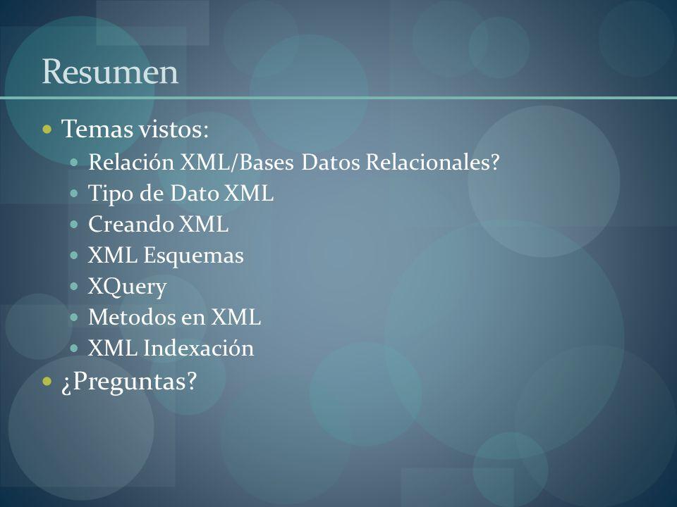 Resumen Temas vistos: Relación XML/Bases Datos Relacionales.