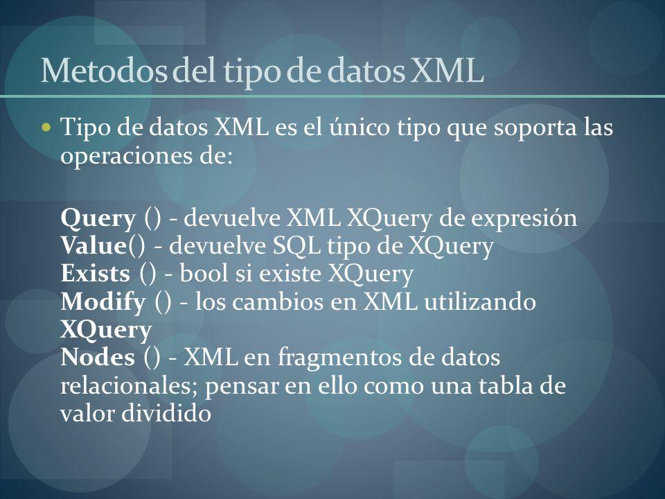 Metodos del tipo de datos XML Tipo de datos XML es el único tipo que soporta las operaciones de: Query () - devuelve XML XQuery de expresión Value() - devuelve SQL tipo de XQuery Exists () - bool si existe XQuery Modify () - los cambios en XML utilizando XQuery Nodes () - XML en fragmentos de datos relacionales; pensar en ello como una tabla de valor dividido