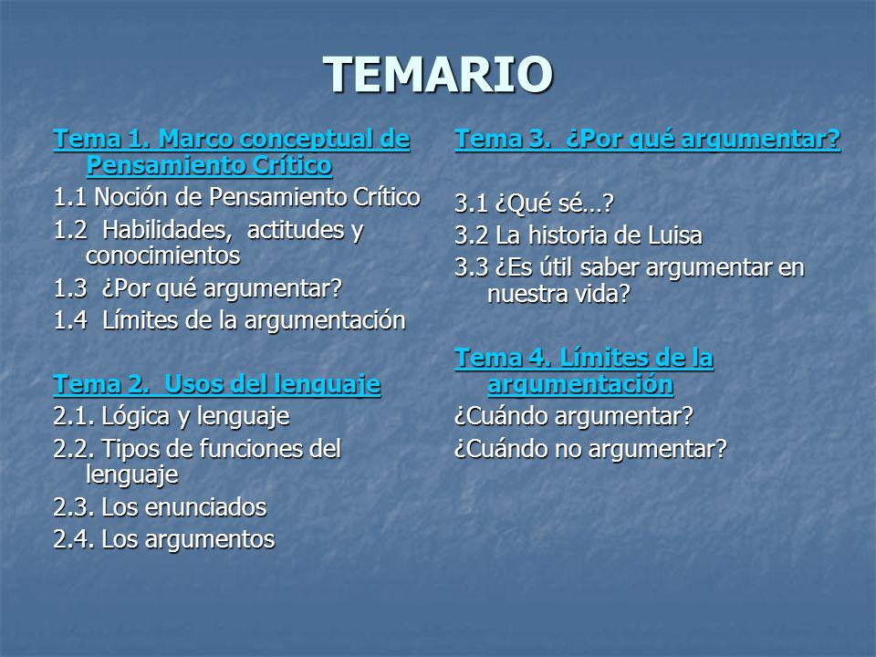 TEMARIO Tema 1. Marco conceptual de Pensamiento Crítico Tema 1. Marco conceptual de Pensamiento Crítico 1.1 Noción de Pensamiento Crítico 1.2 Habilida