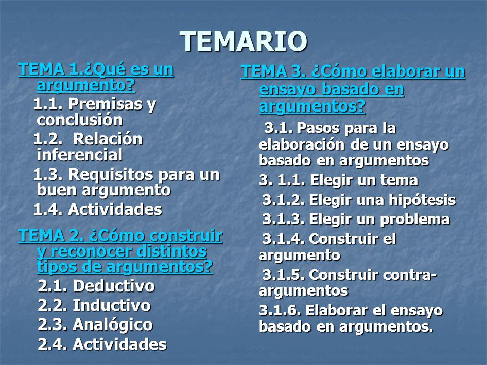 TEMARIO TEMA 1.¿Qué es un argumento? TEMA 1.¿Qué es un argumento? 1.1. Premisas y conclusión 1.1. Premisas y conclusión 1.2. Relación inferencial 1.2.