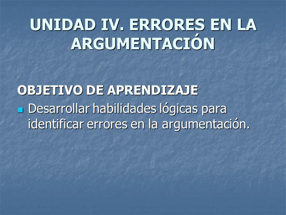 UNIDAD IV. ERRORES EN LA ARGUMENTACIÓN OBJETIVO DE APRENDIZAJE Desarrollar habilidades lógicas para identificar errores en la argumentación. Desarroll
