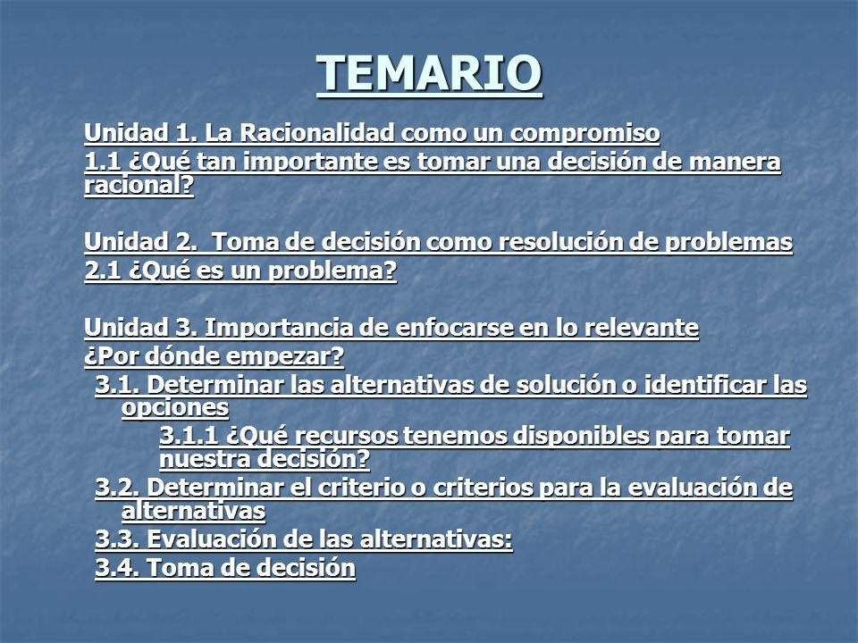 TEMARIO Unidad 1. La Racionalidad como un compromiso 1.1 ¿Qué tan importante es tomar una decisión de manera racional? Unidad 2. Toma de decisión como