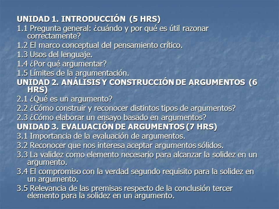 UNIDAD 1. INTRODUCCIÓN (5 HRS) 1.1 Pregunta general: ¿cuándo y por qué es útil razonar correctamente? 1.2 El marco conceptual del pensamiento crítico.