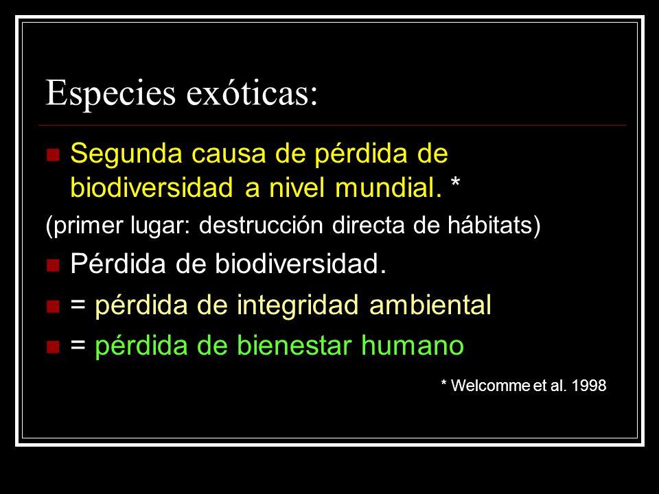 Especies exóticas: Segunda causa de pérdida de biodiversidad a nivel mundial. * (primer lugar: destrucción directa de hábitats) Pérdida de biodiversid