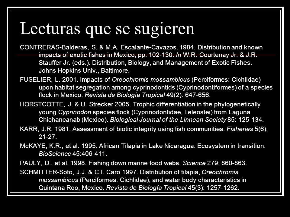 Lecturas que se sugieren CONTRERAS-Balderas, S. & M.A. Escalante-Cavazos. 1984. Distribution and known impacts of exotic fishes in Mexico, pp. 102-130