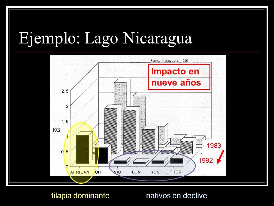 Ejemplo: Lago Nicaragua 1992 tilapia dominante Fuente: McKaye et al. 1995 nativos en declive Impacto en nueve años 1983