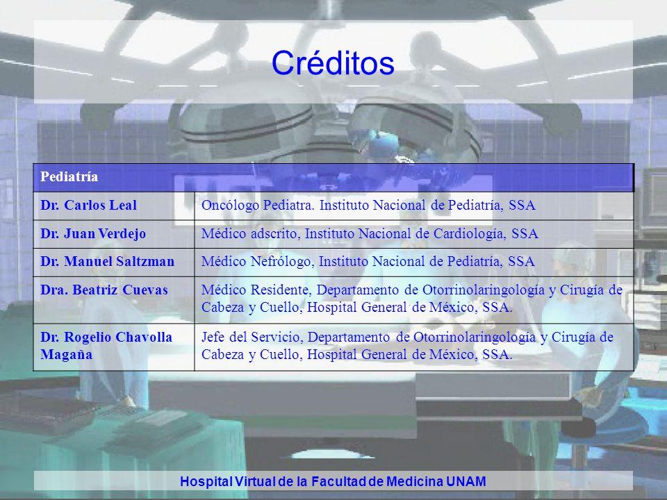 Hospital Virtual de la Facultad de Medicina UNAM Créditos Otorrinolaringología Dra. Beatriz CuevasMédico Residente, Departamento de Otorrinolaringolog