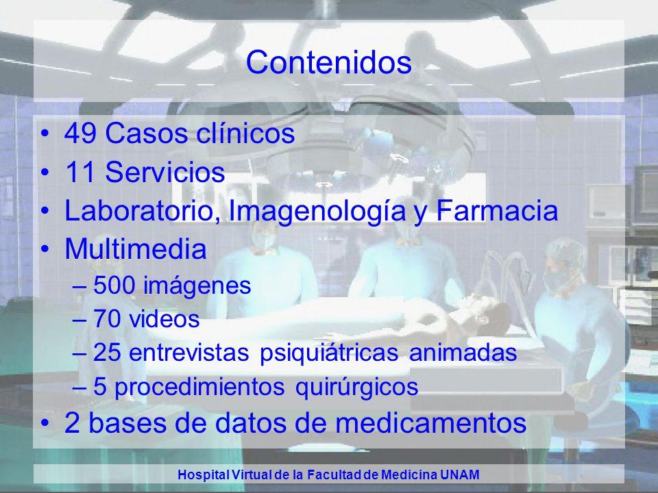 Hospital Virtual de la Facultad de Medicina UNAM Herramienta Simulador hospitalario: –multimedia –ambiente 3D total –contenido en CD-ROM para ejecució