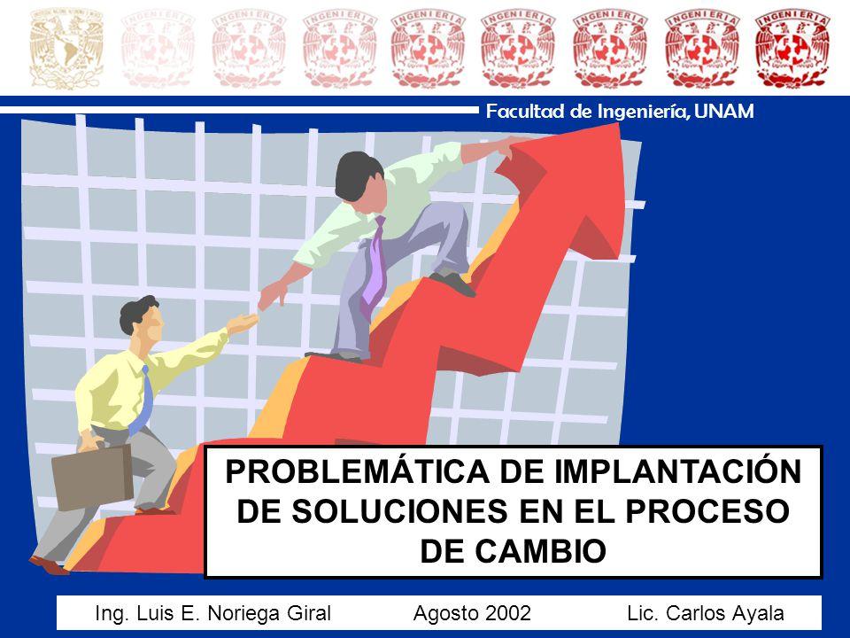 Facultad de Ingeniería, UNAM PROBLEMÁTICA DE IMPLANTACIÓN DE SOLUCIONES EN EL PROCESO DE CAMBIO Ing.