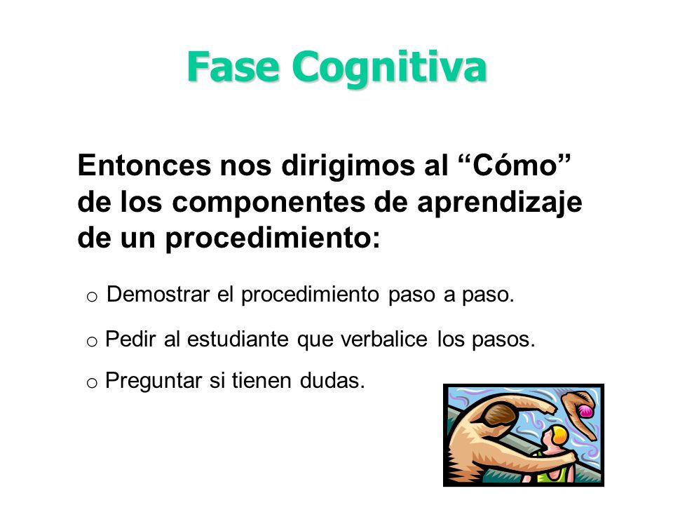 Fase Cognitiva Entonces nos dirigimos al Cómo de los componentes de aprendizaje de un procedimiento: o Demostrar el procedimiento paso a paso. o Pedir