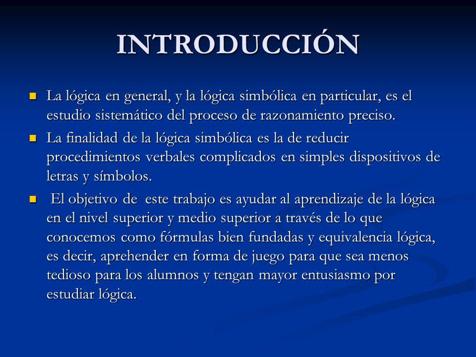 INTRODUCCIÓN La lógica en general, y la lógica simbólica en particular, es el estudio sistemático del proceso de razonamiento preciso. La lógica en ge