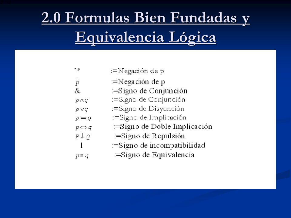 2.0 Formulas Bien Fundadas y Equivalencia Lógica
